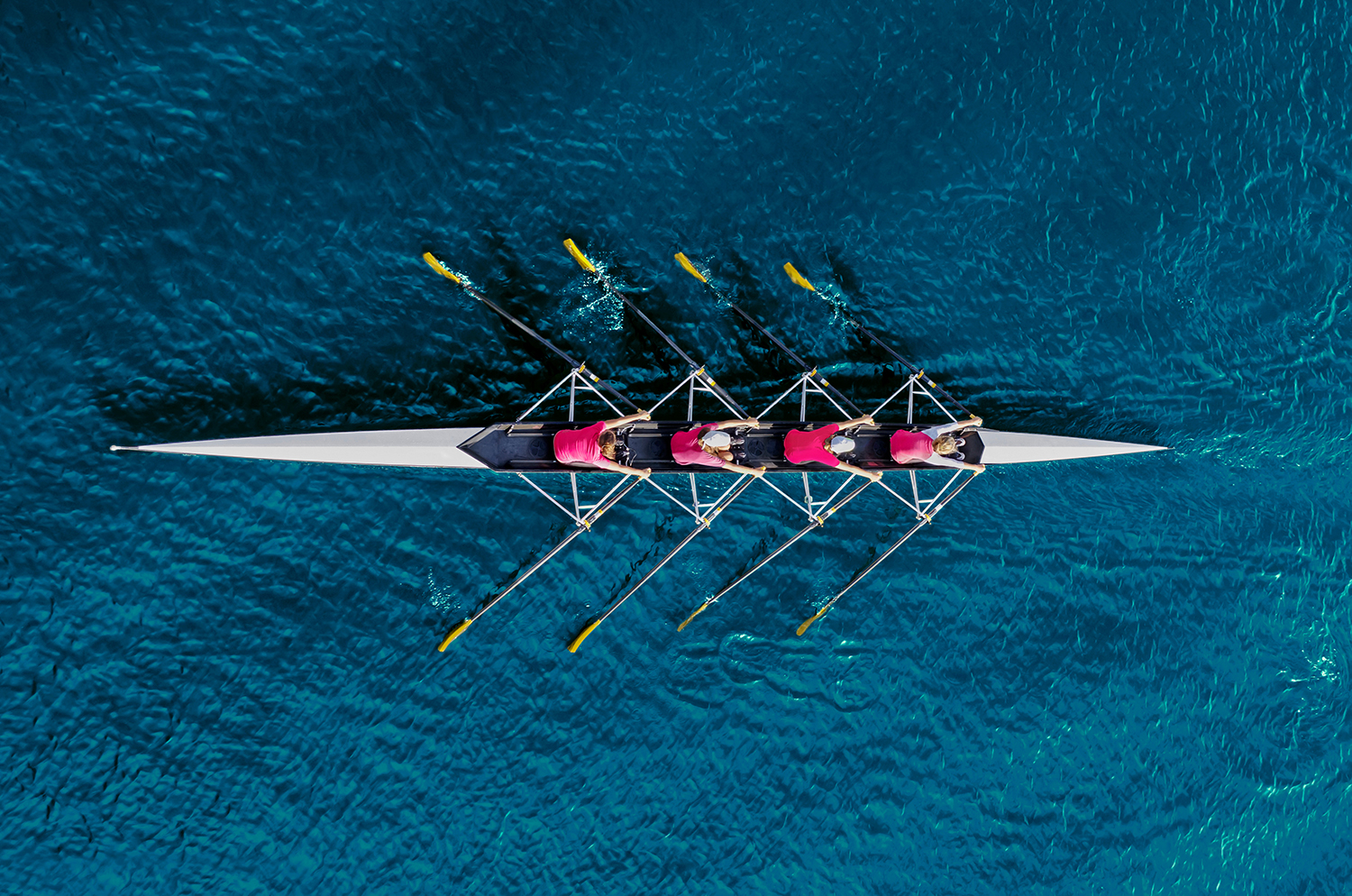 Rowing team in blue water