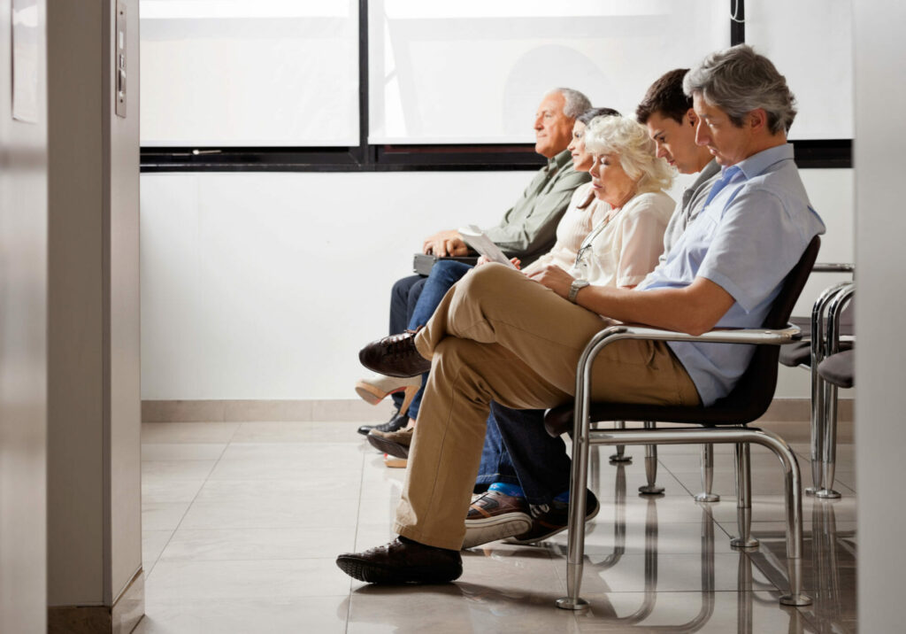 patients waiting in a healthcare clinic wait room